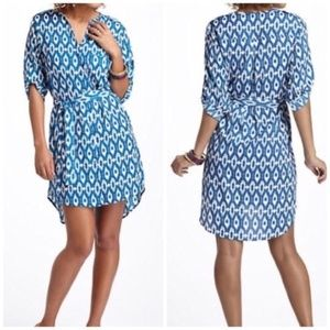 Small Anthro Maeve IKat Frequencies Shirt Dress
